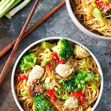 Overhead shot of a bowl of Healthy Chicken Chow Mein