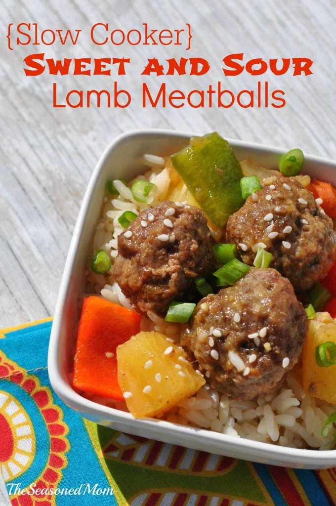 Slow Cooker Sweet and Sour Lamb Meatballs with Pineapple and Cashews