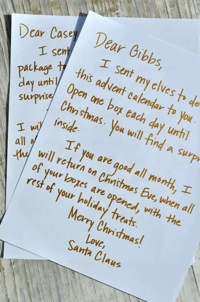 advent calendar letter