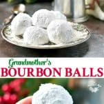 Long collage image of Bourbon Balls