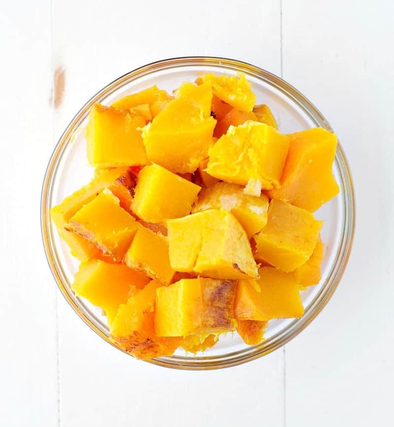 Overhead image of bowl of cubed, roasted butternut squash