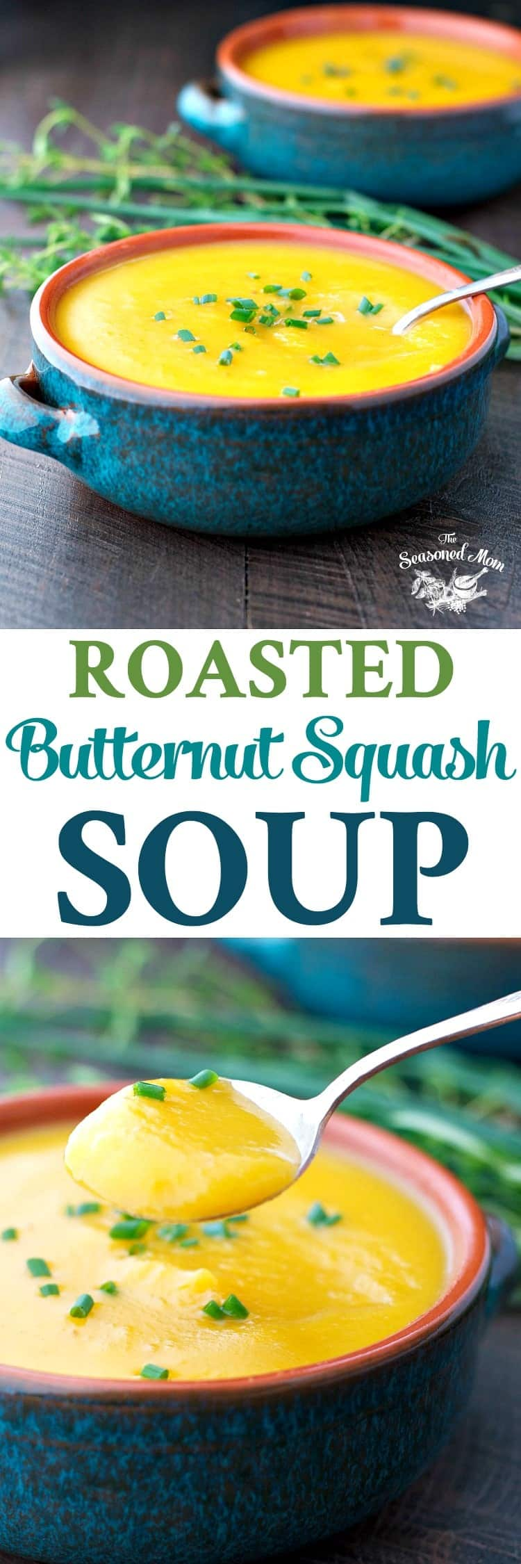 I am in love with this simple, healthy, and rustic Roasted Butternut Squash Soup! Soup Recipes | Easy Dinner Recipe | Healthy Dinner Recipes | Vegetarian Recipes