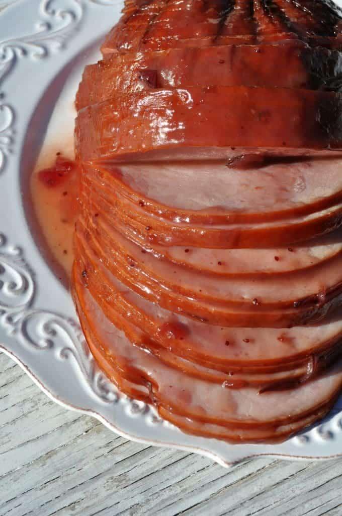 Slow Cooker Cranberry Raspberry Glazed Ham 5