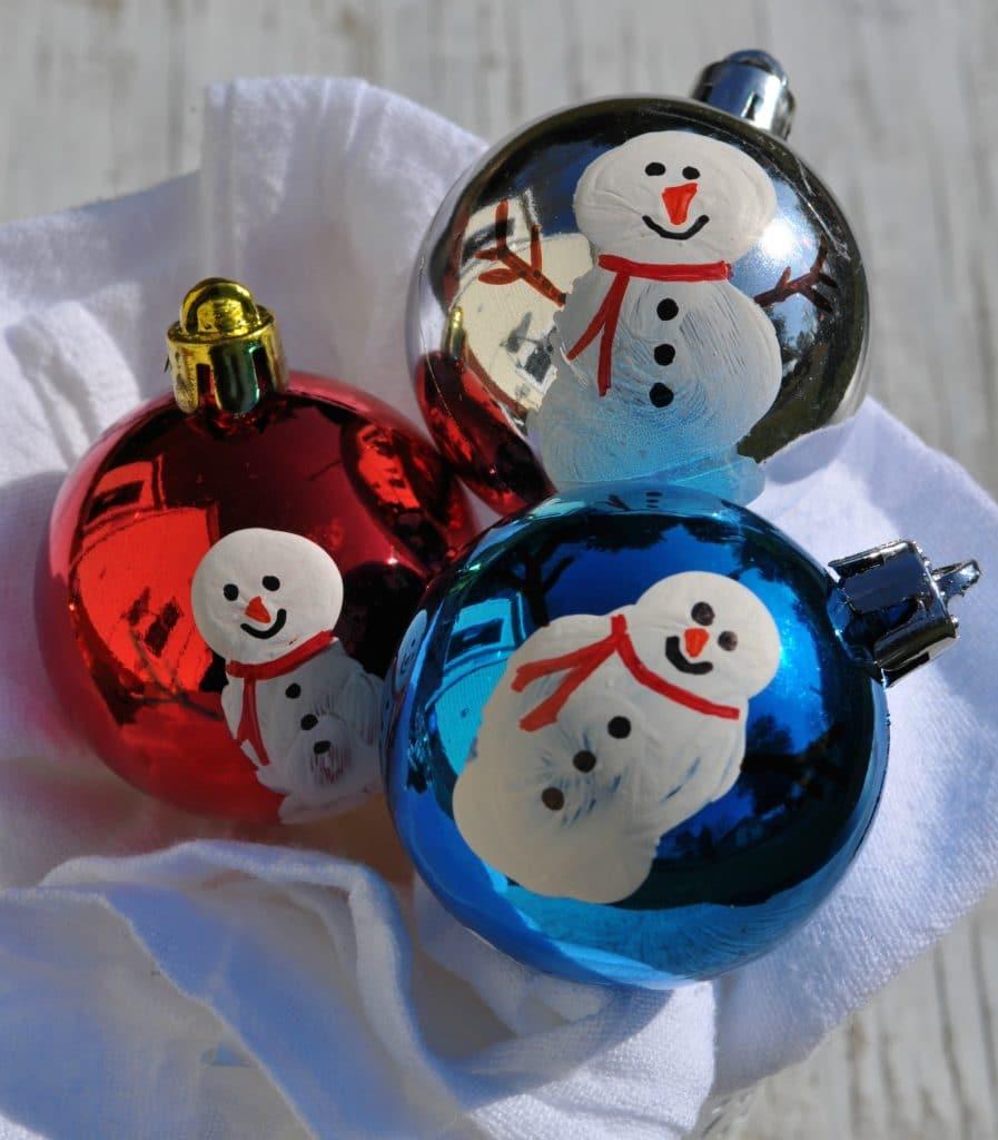 Snowman Thumb Print Ornaments 2