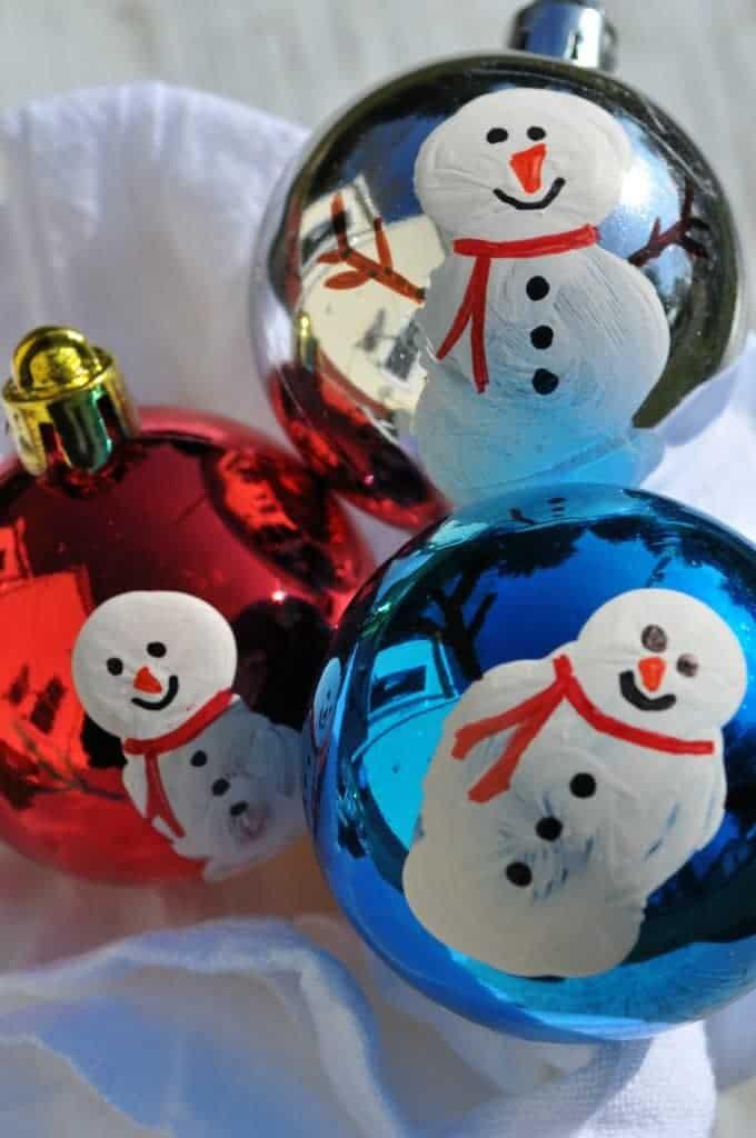 Thumbprint Snowman Ornaments 3