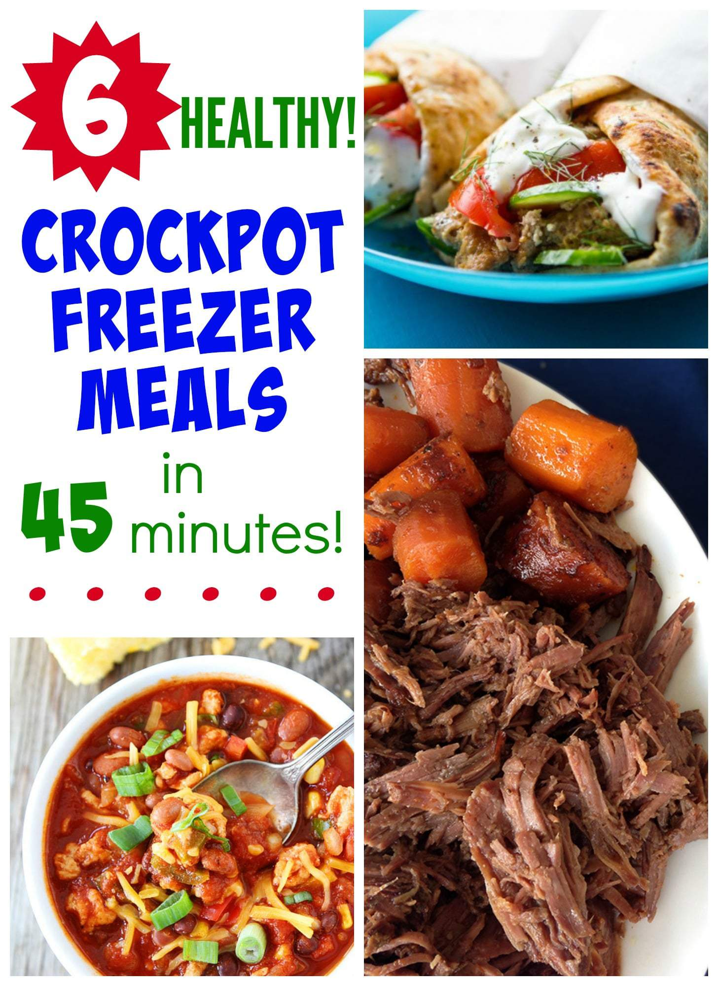 Printable healthy freezer to slow cooker meals include 4 vegetarian recipes, 4 chicken dishes, and 2 beef. The serving size for each meal is 6 to 8 people.