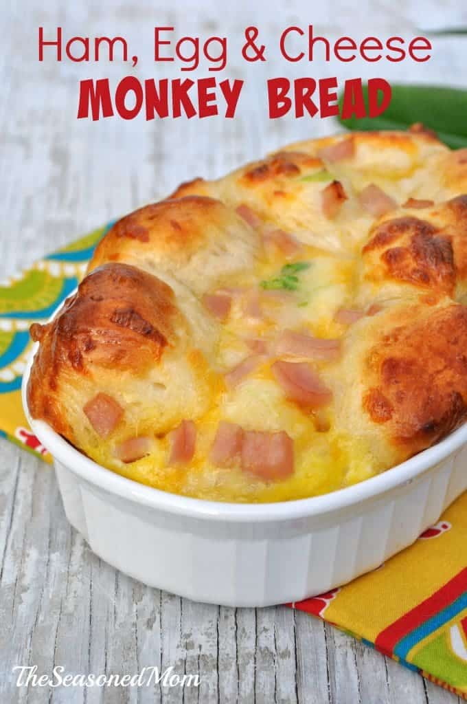 Ham, Egg, and Cheese Monkey Bread from The Seasoned Mom featured on Belle of the Kitchen