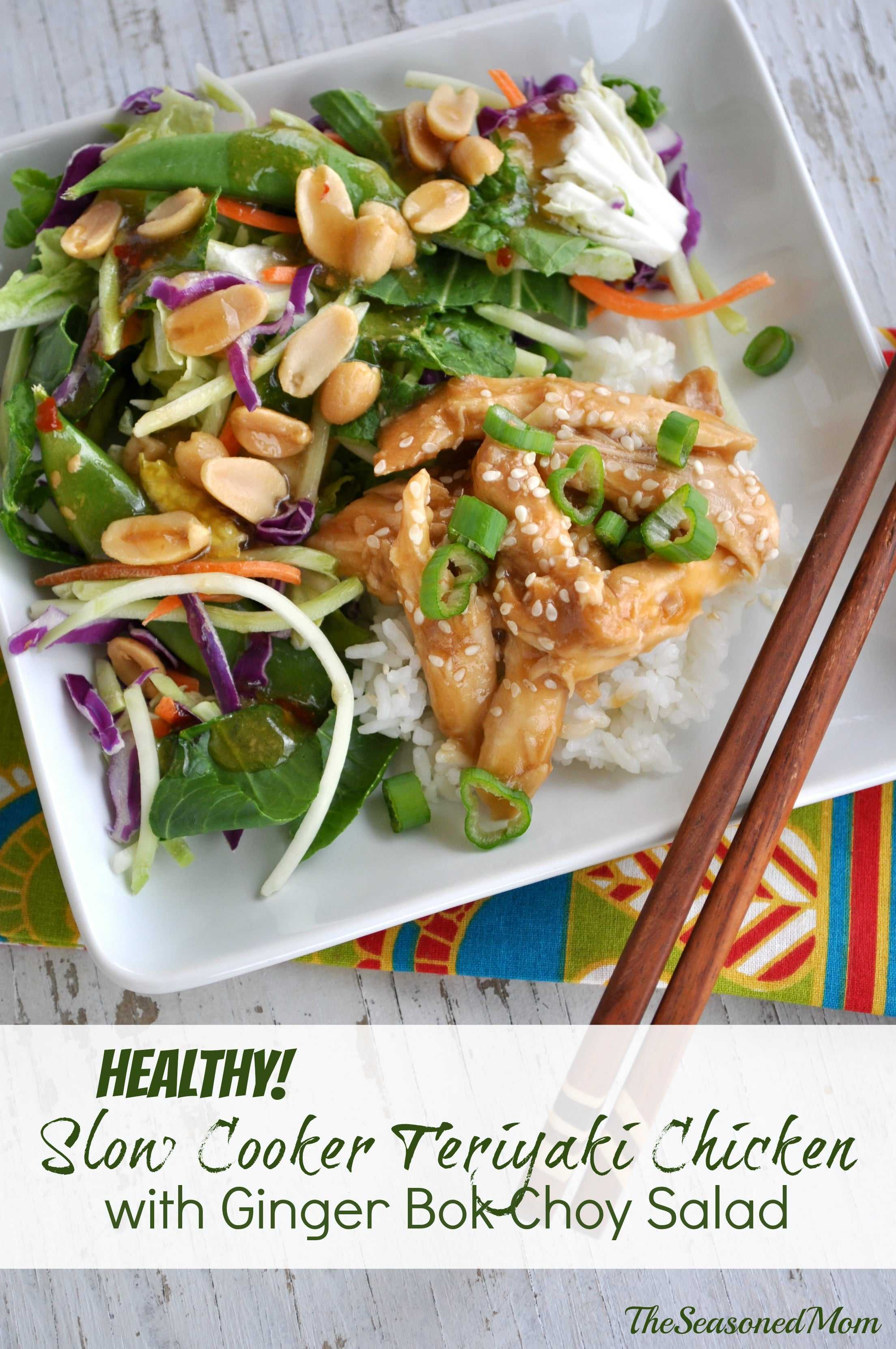 Healthy Slow Cooker Teriyaki Chicken with Ginger Bok Choy Salad - The ...