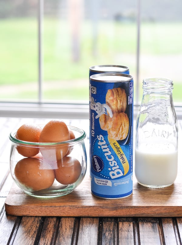 Refrigerated biscuit dough and ingredients for savory monkey bread