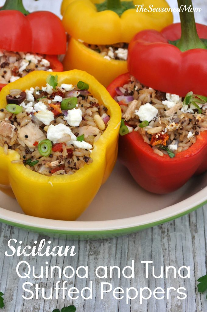 Sicilian Quinoa and Tuna Stuffed Peppers