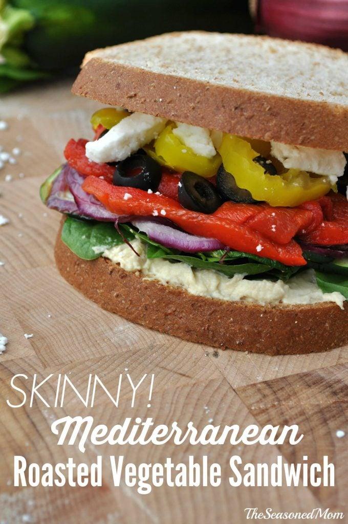 Skinny Mediterranean Roasted Vegetable Sandwich