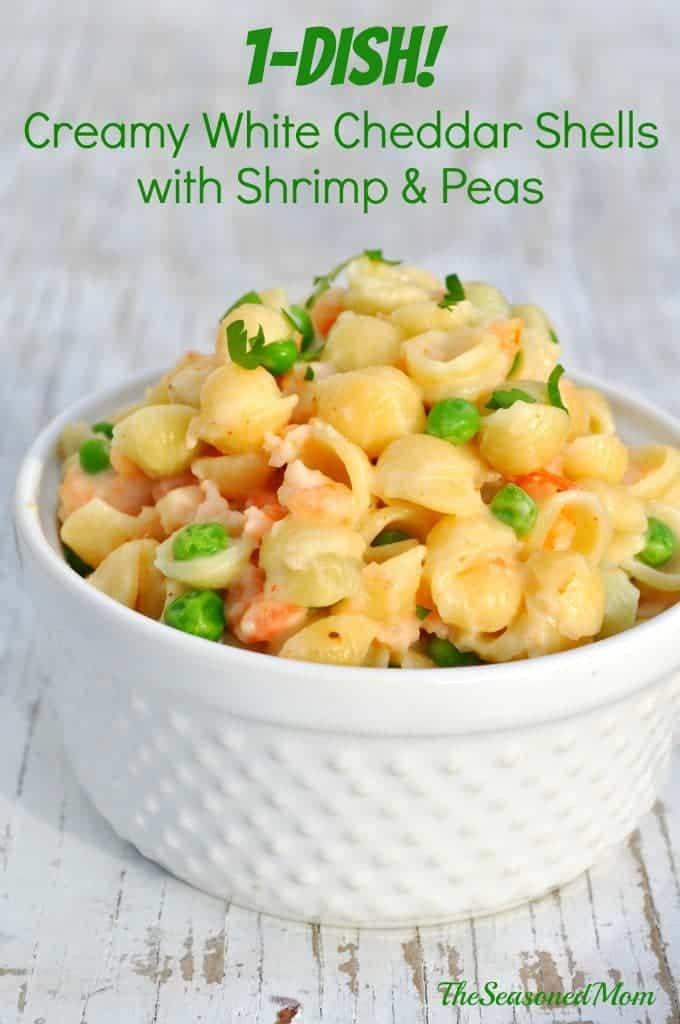 1-Dish Creamy White Cheddar Shells with Shrimp & Peas