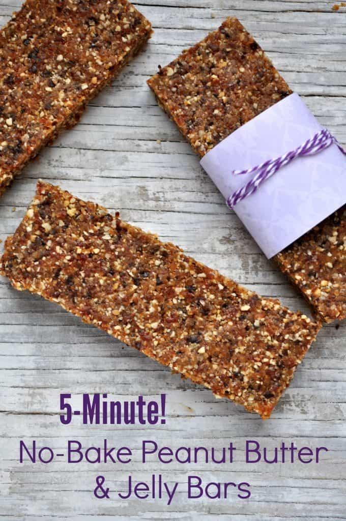 Minute No-Bake Peanut Butter and Jelly Bars - The Seasoned Mom