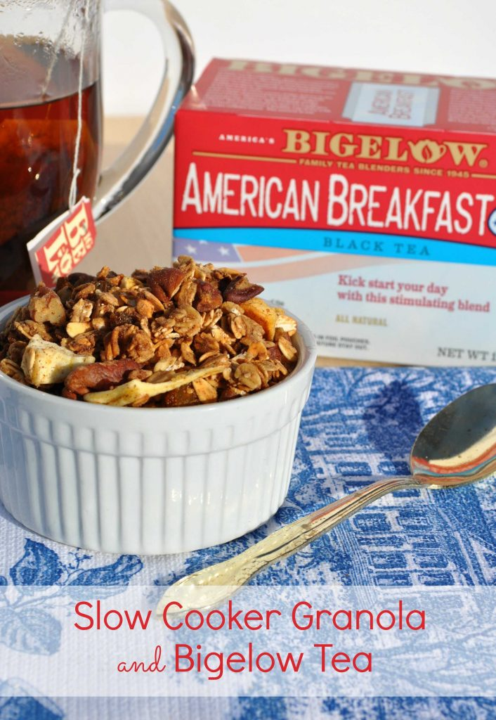 Energizing Breakfast: Healthy Slow Cooker Apple Cinnamon Granola and Bigelow Tea