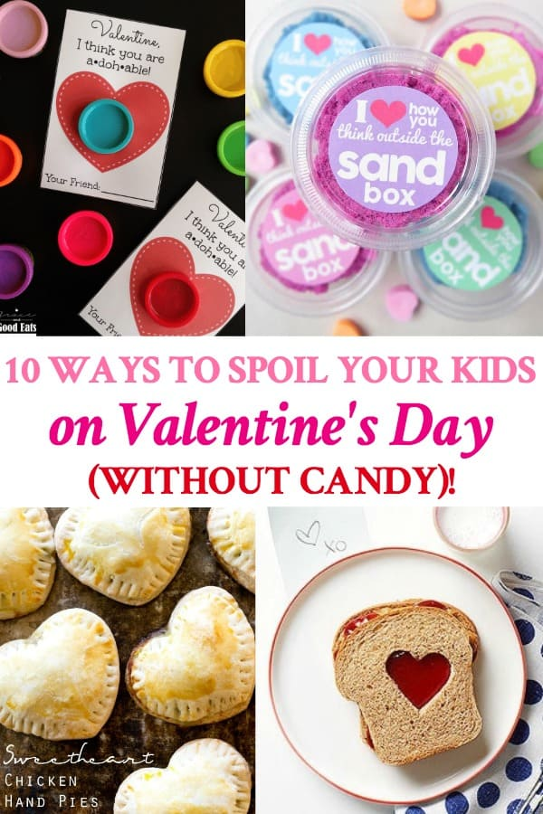 Long collage of ways to spoil your kids on Valentine's Day without candy