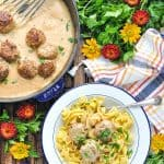 Swedish Meatballs with noodles and text overlay on image