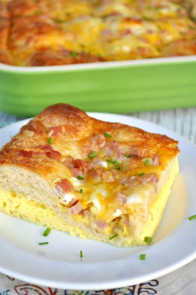 Ham Egg and Cheese Crescent Roll Casserole - The Seasoned Mom