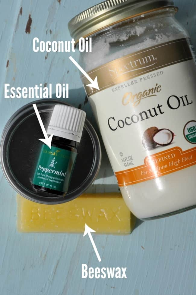 Coconut oil, essential oil and beeswax to make homemade DIY lip balm.