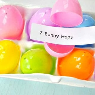 Container of plastic easter eggs with exercises included and a text overlay