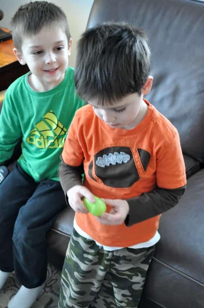 Easter Eggs-ercises Casey Opening Egg