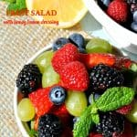 Fresh fruit salad with honey lemon dressing is an easy side dish recipe for brunch!