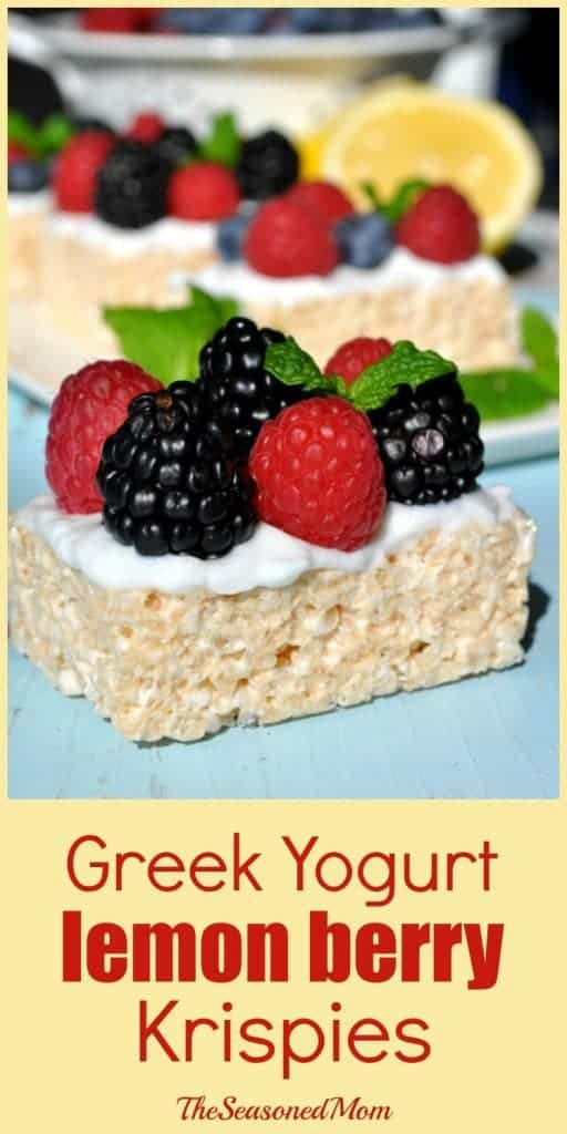 Easy Snack Idea: Greek Yogurt Lemon Berry Krispies