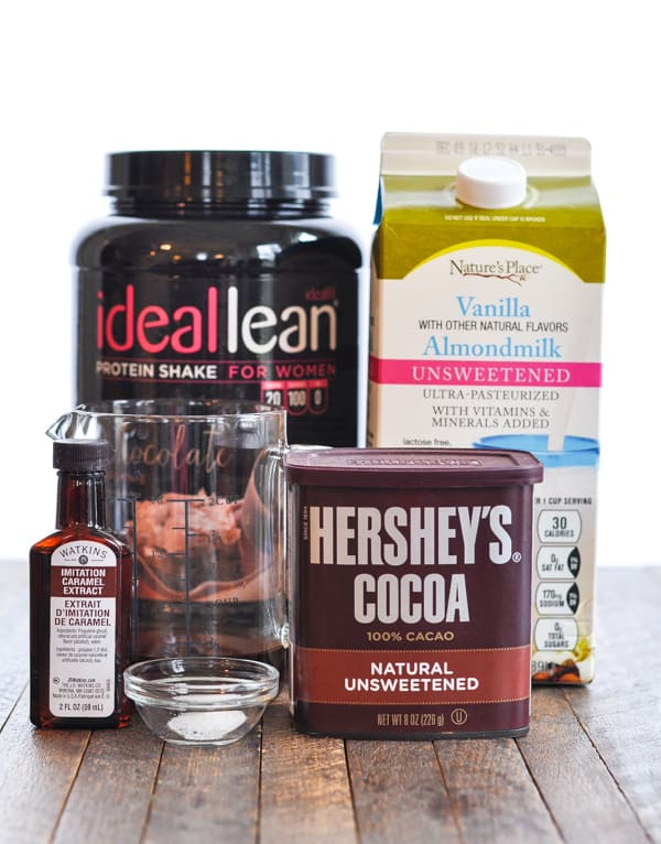 Ingredients for salted caramel mocha protein shake