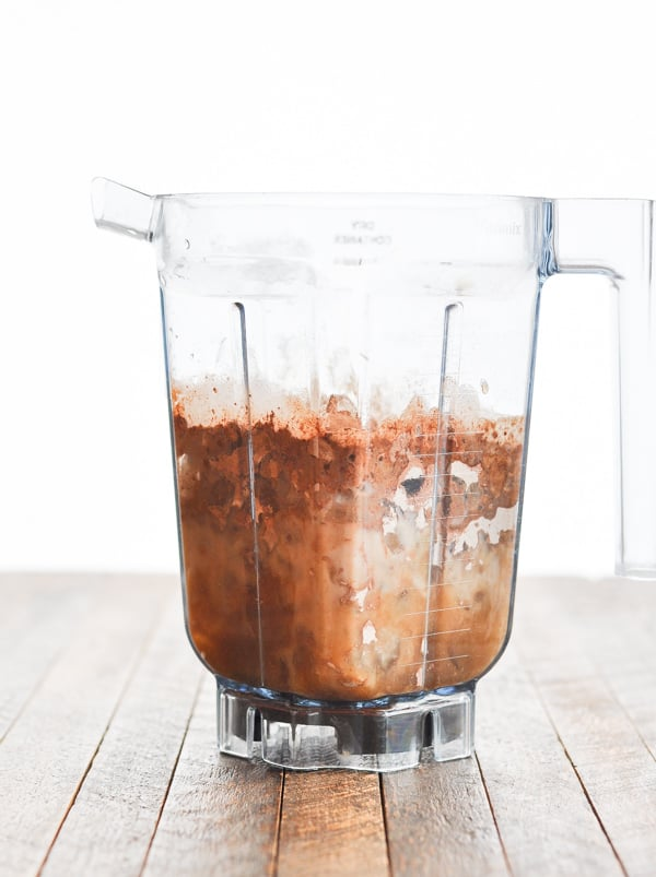 Salted caramel mocha ingredients in blender before mixing