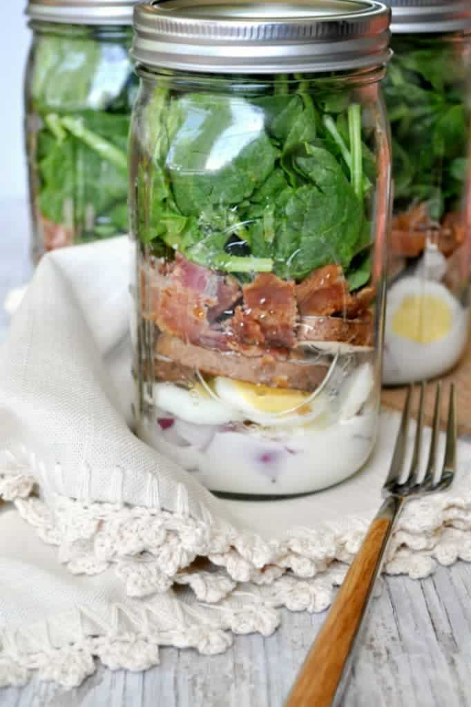 Spinach and Bacon Mason Jar Salads