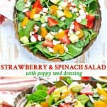 Long collage image of Strawberry Spinach Salad with Poppy Seed Dressing