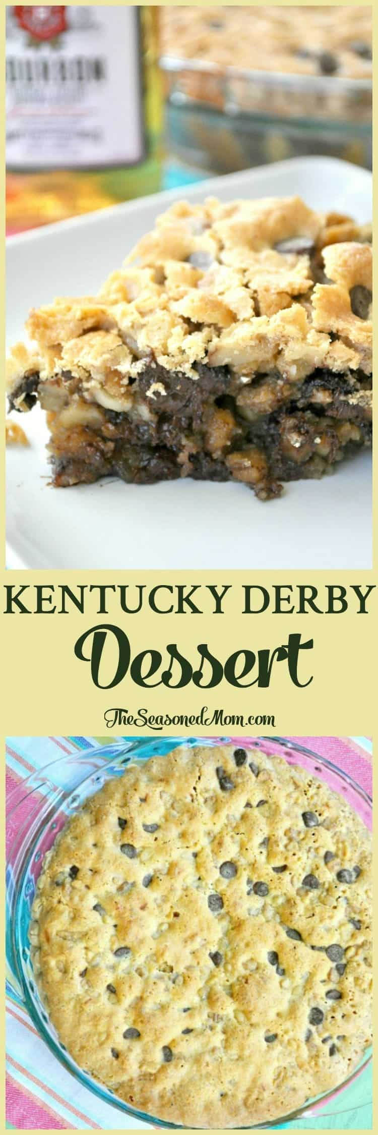 A slice of this Kentucky Derby Dessert is the perfect festive addition to your Kentucky Derby Day celebration! A thick, gooey chocolate chip cookie meets a warm buttery pie that's spiked with just the right amount of bourbon for a heavenly and decadent Southern sweet!