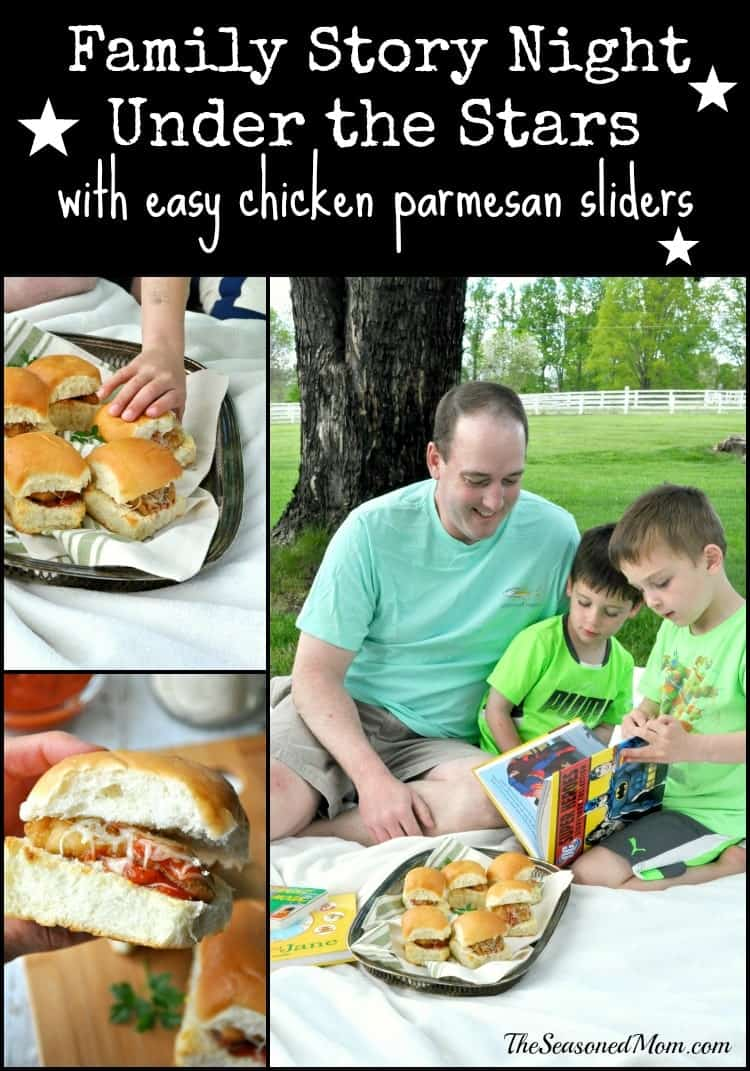 Family Story Night Under the Stars with Easy Chicken Parmesan Sliders