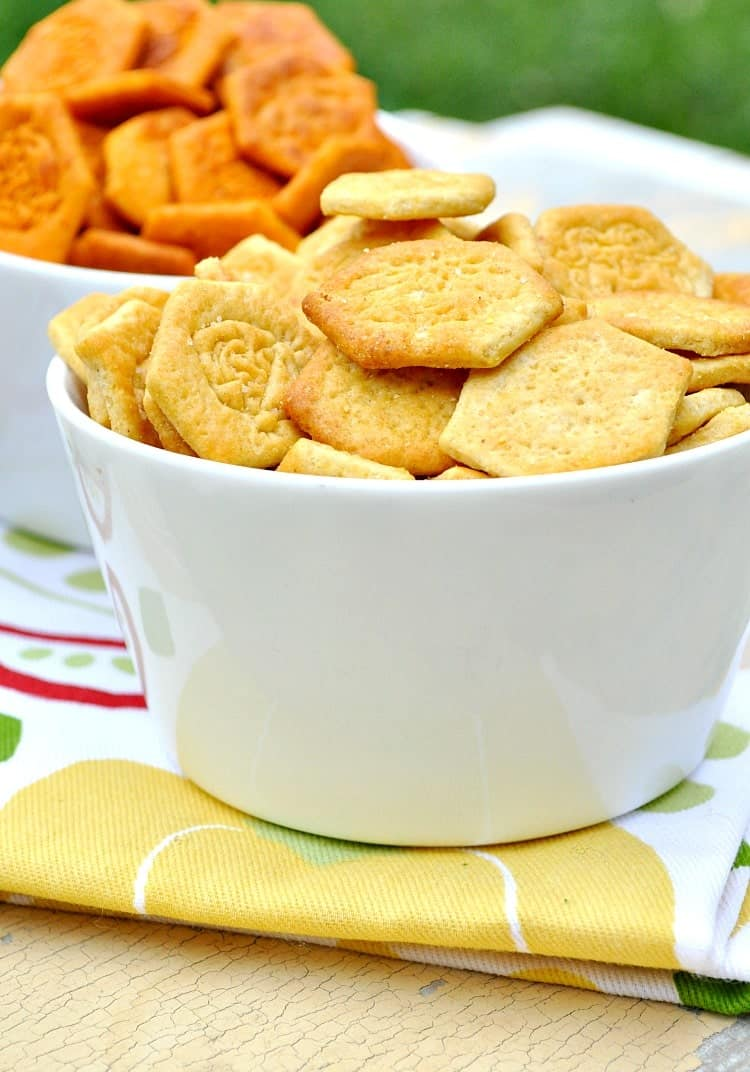 Funleys Crackers in a white bowl