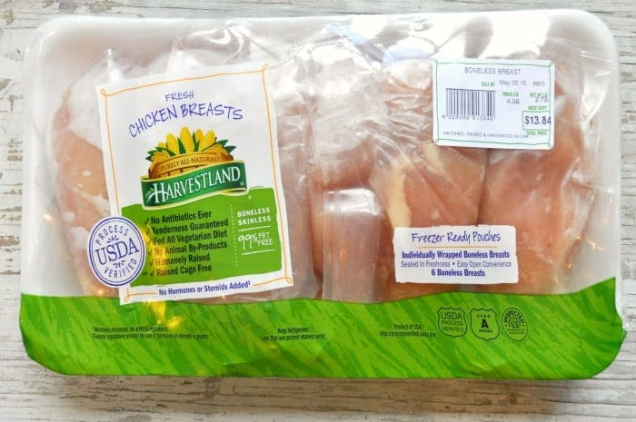 Harvestland Chicken Breasts in a package for making sesame chicken pasta