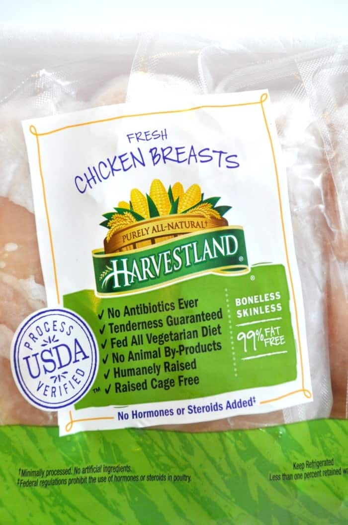Harvestland Chicken Label close up
