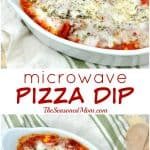 A collage image of a microwave pizza dip