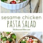 A collage image of sesame chicken salad