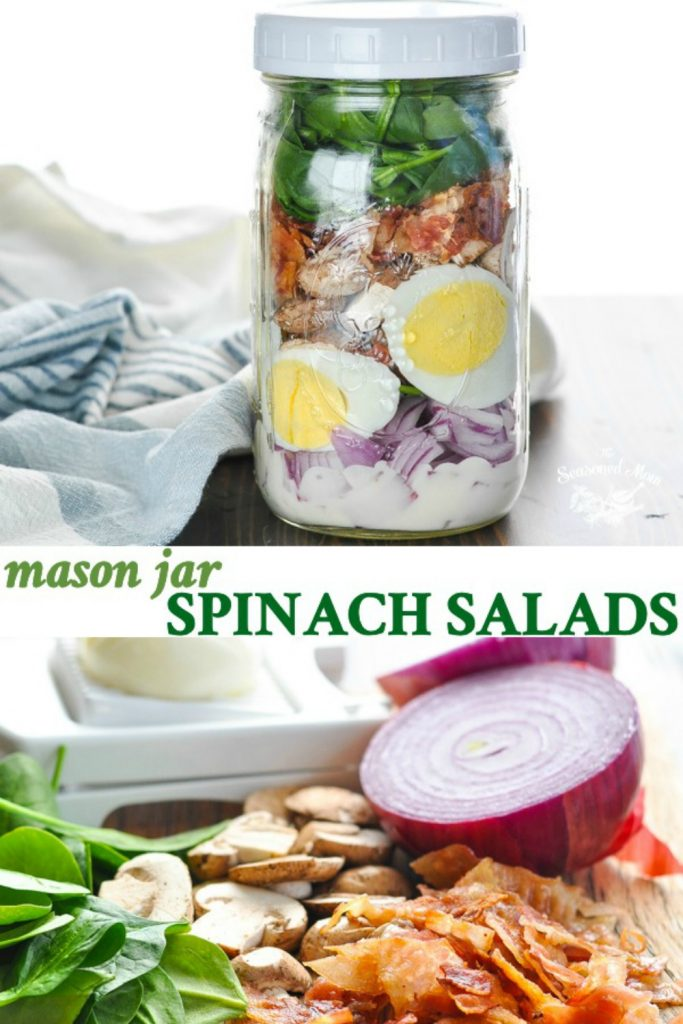 Long collage of Mason Jar Spinach Salad recipe with bacon