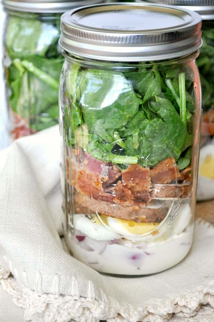 Spinach and Bacon Mason Jar Salads 6