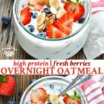 Long collage of high protein berry overnight oatmeal