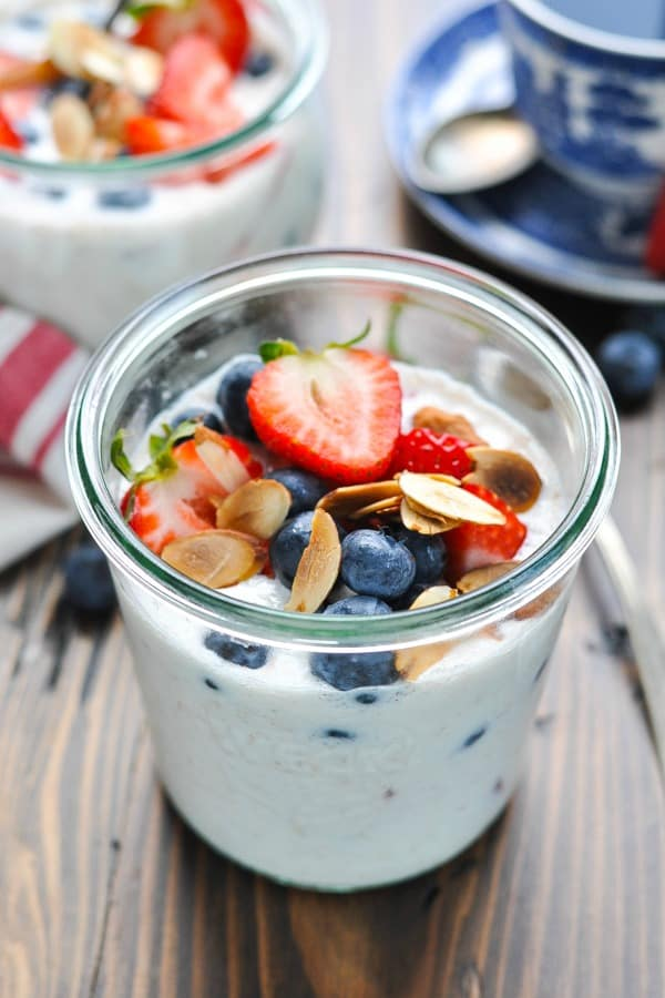 High protein overnight oatmeal in a jar with almonds