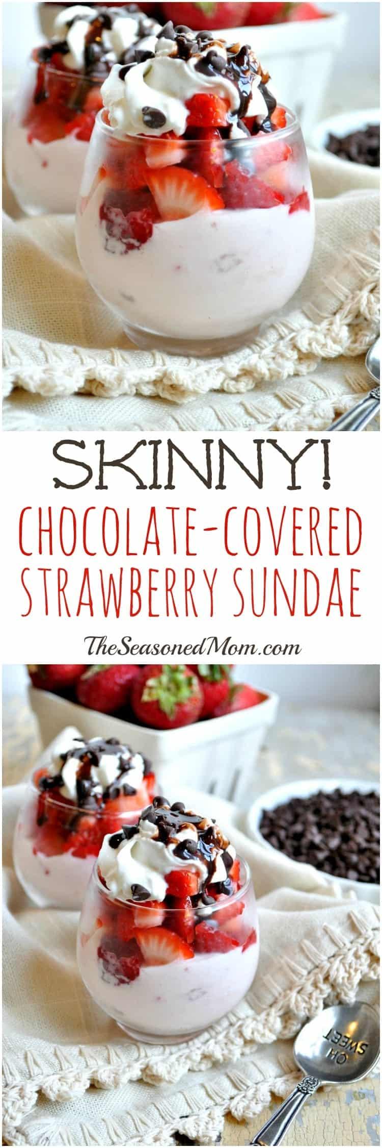 Skinny Chocolate Covered Strawberry Sundae