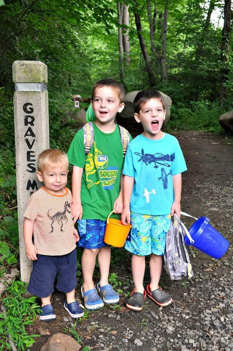 Boys at Trail Marker