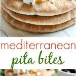 A collage image of Greek pita bread bites