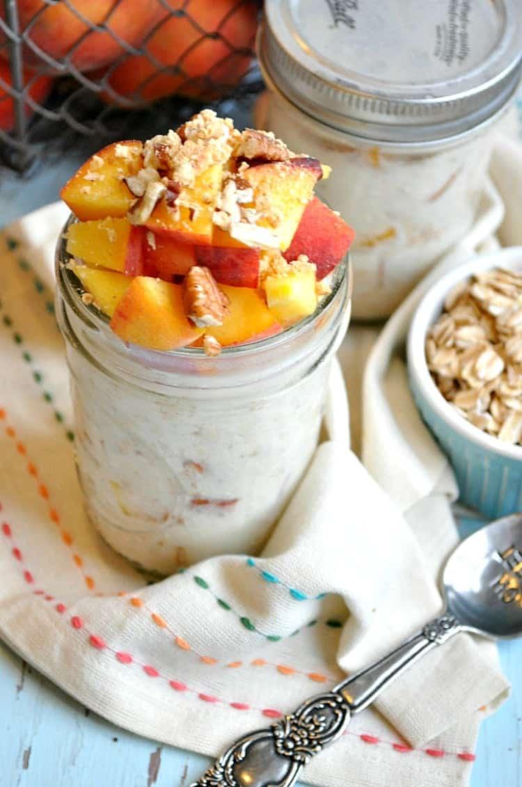 Overnight Peach Cobbler Protein Oats 5
