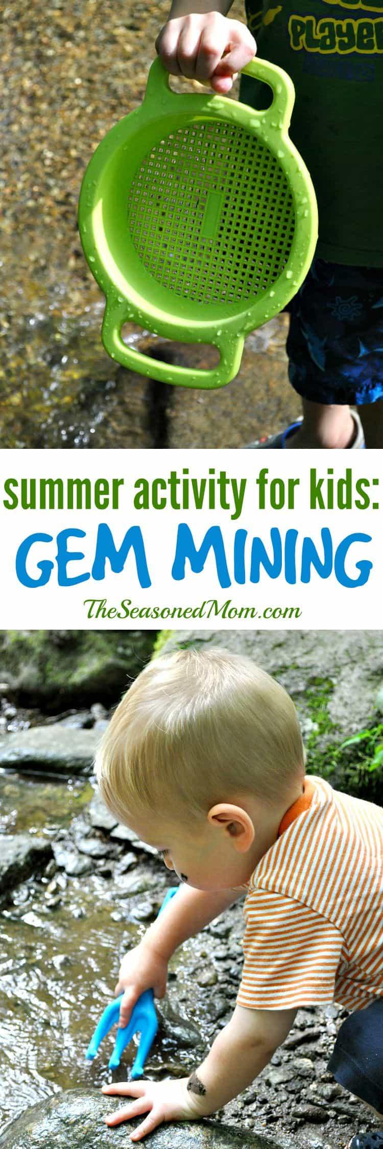 Summer Activity for Kids Gem Mining