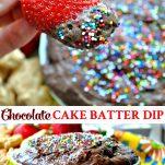 Long collage of chocolate cake batter dip