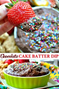 Long collage of chocolate cake batter dip