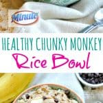 A collage image of a chunky monkey dessert rice bowl