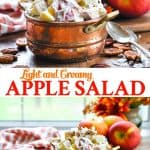 Long collage of light and creamy apple salad
